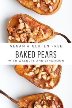 These baked pears with walnuts are the kind of dessert you can make even when you dont feel like baking but still want to serve something sweet and delicious after dinner. This treat is vegan gluten free free from refined sugar low calorie and low fat. Low Calorie Dinners, No Calorie Foods, Low Calorie Recipes, Healthy Recipes, Low Fat Vegan Recipes, Low Calorie Baking, Healthy Low Calorie Dinner, Paleo Fall Recipes, Low Calorie Fruits