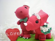 NEW--Love Dino Wedding Cake Topper with Clay Grass Base--Custom Order. $79.00, via Etsy.