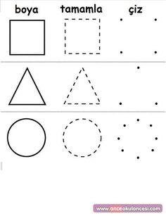 43 En Iyi Daire üçgen Kare Görüntüsü Kindergarten Preschool Ve