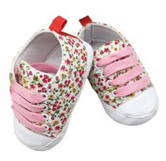 Baskets pré marche bébé fille lacet rose
