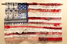 Fabric and Lace American Flag by Antique Plaza based on Free People's original boho version.