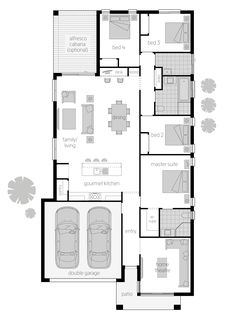 Trinity Floor Plan - The Trinity's well-considered layout smoothly transitions between spaces, flowing from an open plan Gourmet Kitchen, to a contemporary Dining and Family Living area complemented by a built-in desk so you can keep an eye on the kids. Discover more at http://www.mcdonaldjoneshomes.com.au/home-designs/trinity/floorplans #floorplan #floorplans #luxuryhome #housedesigns #newhomes #homedesign #design #architect #mcdonaldjoneshomes #mcdonaldjones