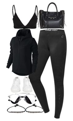 """""""Untitled #1996"""" by sarah-ihab ❤ liked on Polyvore featuring NIKE, GUESS, adidas, Balenciaga and Marc by Marc Jacobs"""