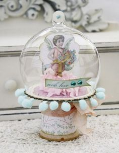 Have this glass dome from Melissa Francis and finally found what to do with it!!