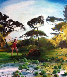 "Saatchi Art Artist Erica Lambertson; Painting, ""Rachel Chopping Wood"" #art"