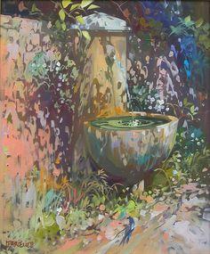 Painting by Laurent Parcelier. Edward Hopper, Art Techniques, Artist Art, Art Forms, Painting Inspiration, Art Pictures, Garden Art, Landscape Paintings, Art Paintings