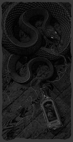 "Exclusive: Aaron Horkey's Graveyard Poster and ""The Siren"" Art Print - OMG Posters! Snake Wallpaper, Dark Wallpaper, Crazy Wallpaper, Hype Wallpaper, Funny Iphone Wallpaper, Gravure Illustration, Illustration Art, Illustrations, Dark Fantasy"