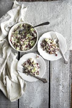 Cauliflower Super Salad with Pomegranate, Avocado, Almonds and Watercress. I Love Food, Good Food, Yummy Food, Tasty, Whole Food Recipes, Cooking Recipes, Vegetarian Recipes, Healthy Recipes, Broccoli