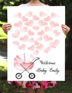 Simple yet elegant baby shower guest book with blush hearts and a stroller. Prin - Pink Stroller - Ideas of Pink Stroller - Simple yet elegant baby shower guest book with blush hearts and a stroller. Regalo Baby Shower, Deco Baby Shower, Shower Bebe, Girl Shower, Baby Shower Gifts, Baby Shower Elegante, Elegant Baby Shower, Baby Showers, Baby Emily