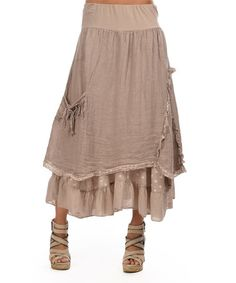 Another great find on #zulily! Taupe & Dark Pink Tiered Linen Maxi Skirt by LIN nature #zulilyfinds