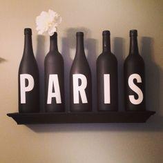 Paris themed decor. #winebottles #paris #diy