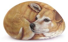 Finely Detailed Dog Portrait Painted on a Sea Rock   Unique Stone Artworks in Memory of your Pet Hand Painted by the Artist Roberto Rizzo