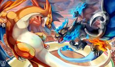 Mega Charizard X vs Mega Charizard Y. Charizard is something fun to draw for me. Visit my other site. Mega Charizard X vs Mega Charizard Y Pikachu Pikachu, Pokemon Charizard, Anime Pokemon, Mega Pokemon, Pokemon Fan Art, Pokemon Games, Pokemon Stuff, Charmander, Fanart Pokemon