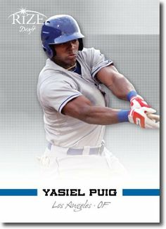 YASIEL PUIG 2012 Rize Rookie Inaugural Edition RC by Rize. $2.00. 2012 marks the debut of RIZE Trading Cards! Their inaugural release, Rize Draft 2012, is sure to be a hit with investors and collectors alike.  These cards are gorgeous, with new, trending design concepts, and a limited production run.  The content of this set is possibly the best, ever! It's loaded with over 100 of the top draft picks, rookies and blue-chip prospects in the game.  RIZE Draft also includes hi...