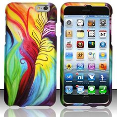 """myLife Blue, Red, Green and Yellow {Rainbow Peacock Feather Iridescent Bird} 2 Piece Snap-On Rubberized Protective Faceplate Case for the NEW iPhone 6 (6G) 6th Generation Phone by Apple, 4.7"""" Screen Version """"All Ports Accessible"""" myLife Brand Products http://www.amazon.com/dp/B00U35NTLE/ref=cm_sw_r_pi_dp_7Dyhvb1TCDTDX"""