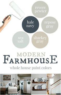 modern farmhouse whole house paint colors