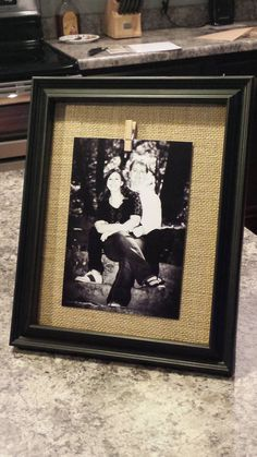 Picture Frame with Burlap Mat and Clothespin by DideschDelights