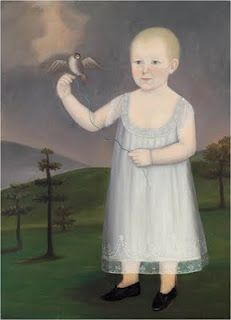 "American Folk Art portrait of a little girl with her ""pet bird."" E. 19th century."