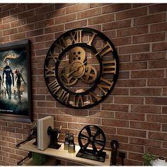 Industrial Gear Wall Clock Decorative Retro Metal Wall Clock Industrial Age Style Room Decoration Wall Art Decor Y200109 From Shanye10, $54.301 | DHgate.Com Industrial Clocks, Wood Clocks, Industrial Style, Vintage Wall Clocks, Vintage Industrial, Rustic Wall Clocks, Industrial Revolution, Unique Vintage, Clock Decor
