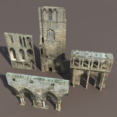 Castle Ruin Pack Low poly 3d Model