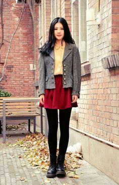 Shop this look on Kaleidoscope (skirt, blazer, blouse, boots)  http://kalei.do/WUuigqP95g93CZKt