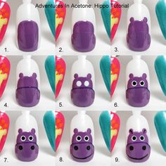 Adventures In Acetone: Tutorial Tuesday: Hippo Nail Art! Pyatt do this to my nails Cute Nail Art, Nail Art Diy, Easy Nail Art, Cute Nails, Diy Nails, Animal Nail Designs, Animal Nail Art, Simple Nail Art Designs, Cute Nail Designs