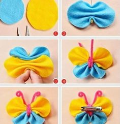 schmetterlinge basteln mit kindern filz-stoff-gelb-blau-plüschdraht You are in the right place about Hair Accessories ponytail Here we offer you the most beautiful pictures about the Hair Accessories Butterfly Hair, Butterfly Crafts, Crafts For Boys, Diy For Kids, Felt Flowers, Fabric Flowers, Bee Crafts, Making Hair Bows, Diy Headband