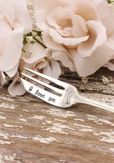 I Love You. Valentine's Day silverware hand stamped by Beach House Living $17