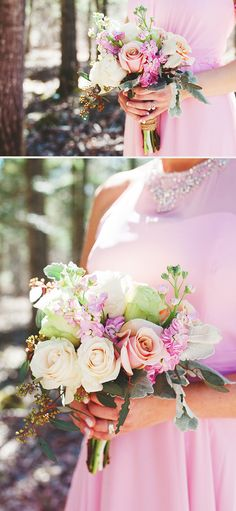 pretty pastel bridesmaids bouquets