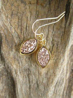 Rose Gold Druzy Earrings Titanium Drusy Quartz Drops Gold