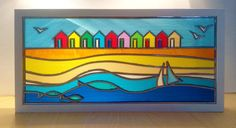 Seaside Stained glass, Blyth Beach Huts, framed