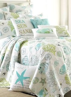 Discover the best coastal bedding sets and beach bedding sets. You will love our beach home bedding sets like comforters, quilts, and duvet cover sets. Aqua Bedding, Nautical Bedding, Coastal Bedding, Coastal Bedrooms, Coastal Living Rooms, Luxury Bedding, Coastal Quilts, Unique Bedding, Beach Cottage Bedrooms