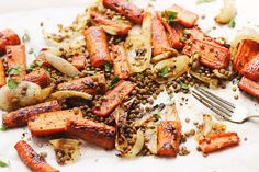 Sweet and spicy maple roasted carrots with crispy lentils and herbs. A cozy, naturally vegan and gluten-free sheet pan meal. Healthy Eating Recipes, Healthy Cooking, Vegetarian Recipes, Healthy Dinners, Veg Dinner Recipes, Side Dish Recipes, Roasted Carrots, Roasted Vegetables, Vegetable Dishes