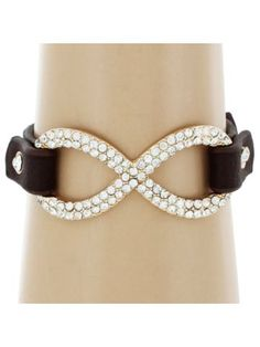 Infinity Sign Brown Leather Cuff Bracelet