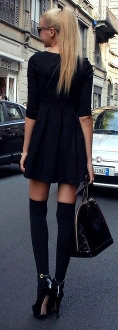 Love short skirts and knee highs...awesome street style.