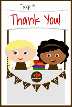Girls Scouts - FREE Printable Brownies Thank You Cards - Cookie Booth