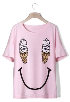 Ice Cream Smile Face T-shirt in Pink - Chicwish