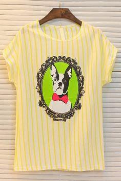 Dog Graphic Striped Tee - OASAP.com