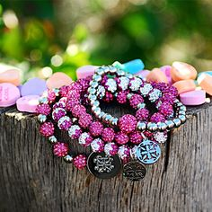 Pretty in Pink Set  rustic cuff