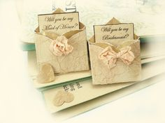 SOLD OUT. Will You Be My Bridesmaid Miniature Envelope Magnets, Set of 8 by TheRecycledRuffle, $27.00