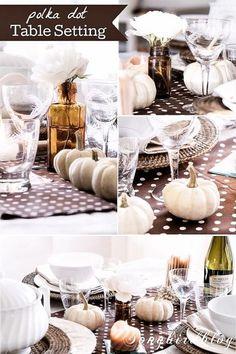 A polka dot Thanksgiving table setting   eBay