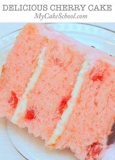 Delicious Cherry Cake from Scratch! Recipe by MyCakeSchool.com. Online cake tutorials, cake recipes, and more!