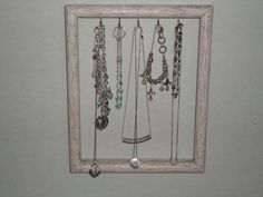 Picture Frame Jewelry Hanger Upcycled Solid by MissKarensKreations......SOLD........