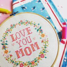 Floral Love you MOM cross stitch -  redbeardesign.etsy.com