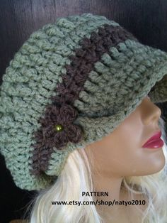 79c842183ac INSTANT DOWNLOAD Oversized Loose Mint Chunky Crochet Hat Pattern With Brim