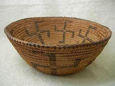 Antique Early Native American Basket w Swastikas Pima | eBay