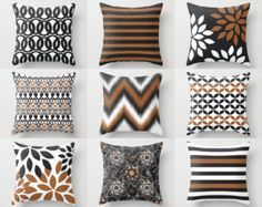 Throw Pillow Covers, Accent Pillow Covers,Toss Pillow Covers, Home Decor, Russet White Charcoal Decorative Pillows Navy Pillows, Accent Pillows, Cushion Covers, Throw Pillow Covers, White Charcoal, Pillow Cover Design, Designer Throw Pillows, Bunt, Home Accessories