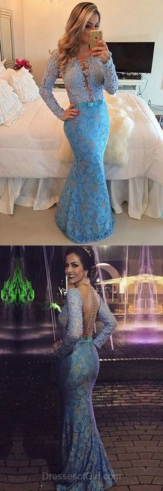 Blue Prom Dresses, Mermaid Prom Dress, Long Sleeve Evening Gowns, Open Back Party Dresses, Lace Formal Dresses