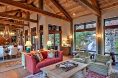 Wood beam ceiling interior design ideas post and beam construction timber frames post and beam barns timber frame vs post and beamSmall Post And Beam Floor Plan Eastman HouseWood Beam Ceiling Interior. Craftsman Living Rooms, Spanish Revival Home, Design Case, Great Rooms, Interior Architecture, Architecture Layout, House Plans, Sweet Home, House Design