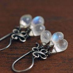 Moonstone Chandelier Earrings, Sterling Silver Gemstone Dangle Earrings, Handmade Clovers, aubepine via Etsy
